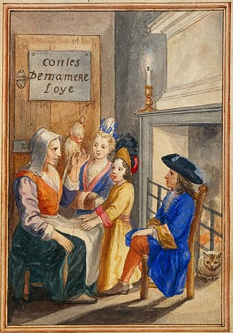 Histoires ou contes du temps passé - Title page of 1695 edition of Charles Perrault's Contes showing the title of Les Contes de ma Mère l'Oye