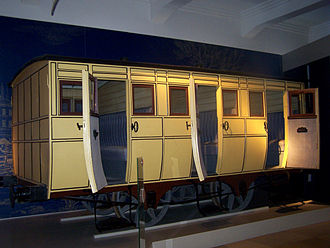 Adler (locomotive) - Wooden second class passenger wagon No 8 of the Bavarian Ludwig Railway (built 1835, rebuilt between 1838 and 1846) in the Nuremberg Transport Museum