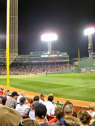 Pesky's Pole -  Pesky's Pole during a night game, September 2007