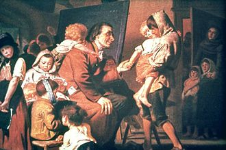 Stans - Pestalozzi with the orphans of Stans