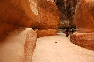 Petra - The narrow passage (Siq) that leads to Petra