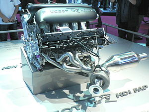 Peugeot 908 HDi FAP - The 908's 5.5 litre twin-turbocharged diesel V12.  One of the FAP particulate filters is on the right.