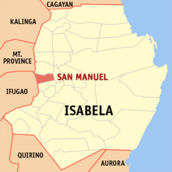 Map of Isabela showing the location of San Manuel