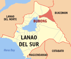 Map of Lanao del Sur with Bubong highlighted
