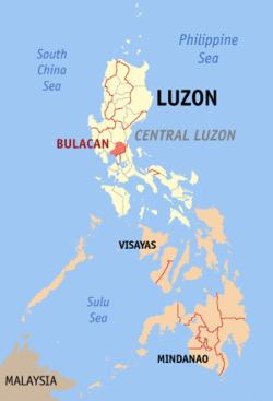 Map of the Philippines with Bulacan highlighted