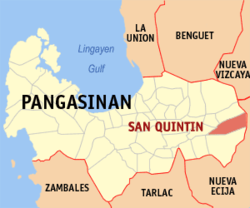 Map of Pangasinan showing the location of San Quintin