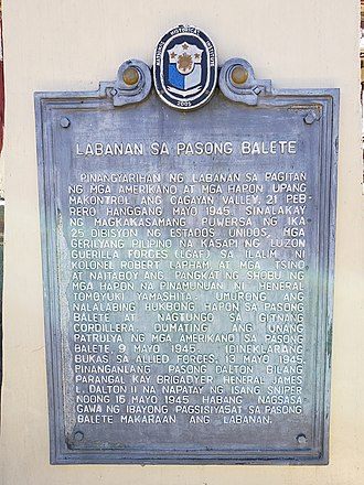 Robert Lapham - Philippine historical marker for Dalton Pass and the role of Lapham's LGAF in the battle