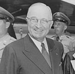 Photograph of President Truman at the airport in... - NARA - 20039.jpg