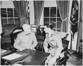 Photograph of President Truman with the Shah of Iran in the Oval Office. - NARA - 200151.tif