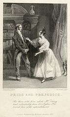 One of the two earliest illustrations of Jane Austen's novel Pride and Prejudice, which was first published on January 28, 1813. This engraving comes from the first illustrated edition, published twenty years later, and depicts Elizabeth Bennet (the main protagonist, right) and her father, in fashions that were common in the 1830s, not the story's original time setting. The novel is told from Bennet's point of view and deals with issues of manners, upbringing, moral rightness, education and marriage in the aristocratic society of early 19th century England. The novel retains a fascination for modern readers, having sold some 20 million copies worldwide and continuing near the top of lists of 'most loved books'.
