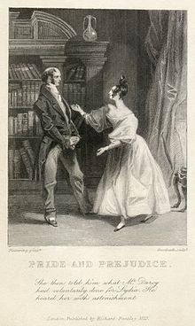 "Engraving of Mr. Bennett and Elizabeth from ""Pride and Prejudice"""
