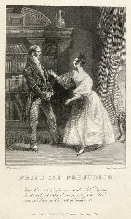 Engraving of a scene from Pride & Prejudice, 1833. (Wikimedia Commons)  Mr. Bennet is on the left, Elizabeth on the right.