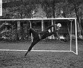 Piet Schrijvers tijdens het stoppen van de bal, Bestanddeelnr 918-3968.jpg