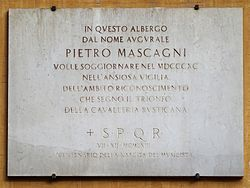Pietro mascagni plaque   via del pantheon