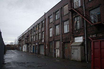 Pioneer Mill, at the end of Milltown Street in Radcliffe. The building was the last in the town to use cotton. Pioneer mills radcliffe.jpg