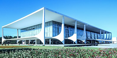 As with many of Brazil's government buildings in Brasília, the Palácio do Planalto, official workplace of the Brazilian President, is clad in marble.