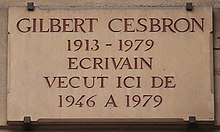 Plaque Gilbert Cesbron 126 boulevard Saint-Germain.jpg