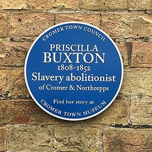 Priscilla Buxton - Blue plaque in Cromer
