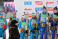 Pokljuka biathlon world cup in 2010, mixed team podium.jpg