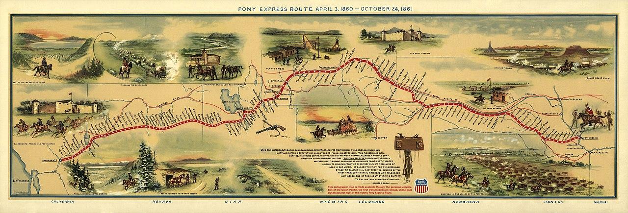 Pony Express Map File:Pony Express Map William Henry Jackson.   Wikipedia Pony Express Map