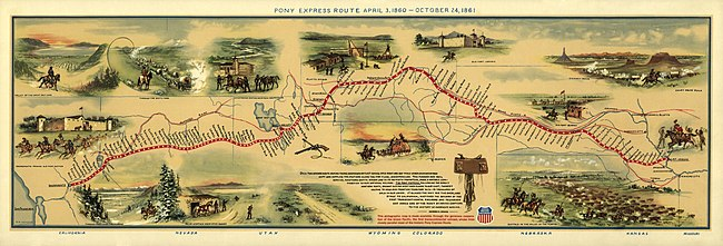 Pony Express route map