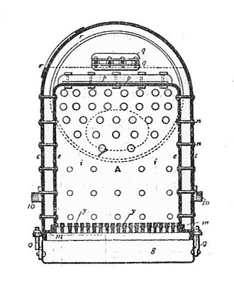 Round-topped boiler - Figure 1 – Early flat-sided girder-stayed boiler