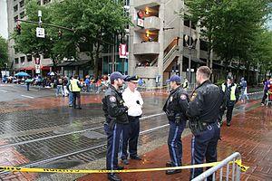 Oregon State Police - Portland police standing.