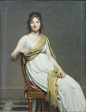 "Directoire style - Madame Raymond de Verninac by Jacques-Louis David, with clothes and chair in Directoire style. ""Year 7"", that is 1798-99."