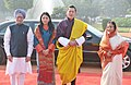 Pratibha Devisingh Patil and the Prime Minister, Dr. Manmohan Singh at the Ceremonial Reception of the King of Bhutan, His Majesty Jigme Khesar Namgyel Wangchuck and the Queen Her Majesty Jetsun Pema Wangchuck.jpg