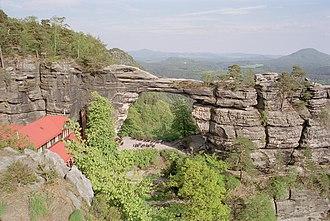 Elbe Sandstone Mountains - The Pravčická brána (Prebischtor), a natural sandstone arch in Bohemian Switzerland