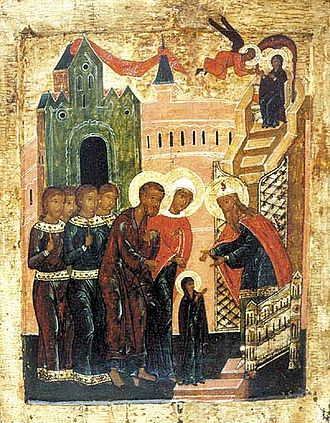 Nativity Fast - The Entry of the Theotokos into the Temple, the Great Feast which falls during the course of the Nativity Fast (16th-century Russian icon).