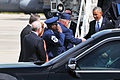 President Barack Obama, right, shakes hands with U.S. Air Force Col. Marshall C. Collins, the commander of the 145th Airlift Wing, North Carolina Air National Guard, upon arriving at the North Carolina Air 140826-Z-FY745-144.jpg