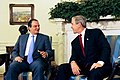 President George W. Bush meets with Prime Minister Kostas Karamanlis of Greece in the Oval Office.jpg