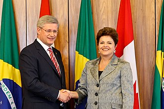 Brazil–Canada relations - Canadian Prime Minister Stephen Harper and Brazilian President Dilma Rousseff in 2011