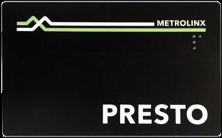 Presto card Contactless smart card fare system in Ontario, Canada