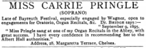 Carrie Pringle - Advertisement by Carrie Pringle in The Musical Times of 1 November 1895, containing testimonial of Frederick Bridge.