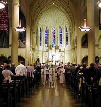 Cathedral - Interior of St. Mary's Episcopal Cathedral, Memphis, Tennessee with a procession.
