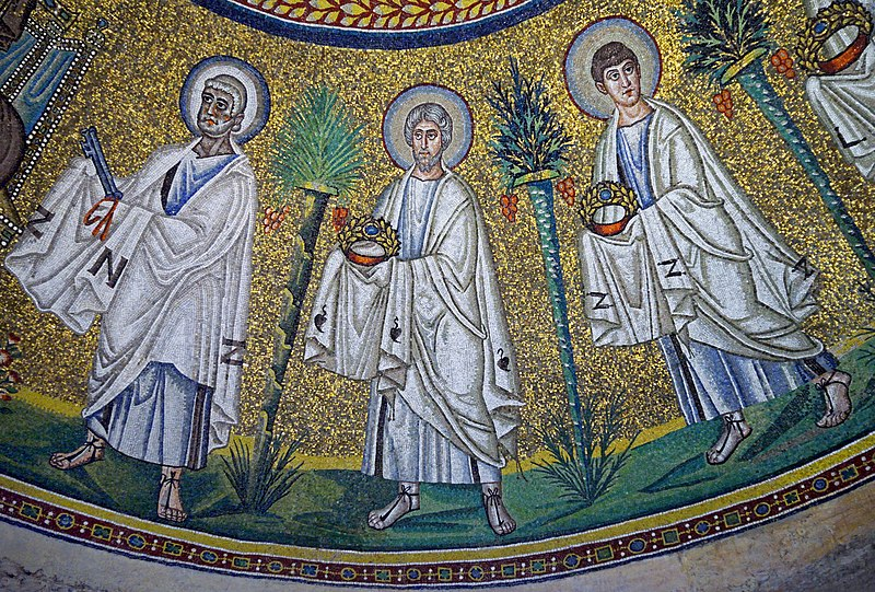 File:Procession of the Apostles. First left - Saint Peter. Part of the mosaic in Arian Baptistery. Ravenna, Italy.jpg