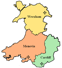 The Archdiocese of Cardiff, shown in green, within the Province of Cardiff