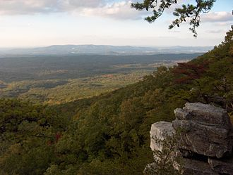 Oxford, Alabama - View from Pulpit Rock on Cheaha Mountain. Oxford lies just in front of Coldwater Mountain in the distance.