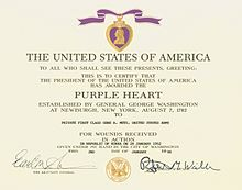 Purple heart wikipedia for Purple heart citation template