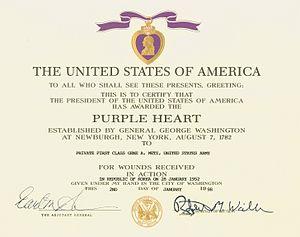 300px Purple heart certificate Purple Hearts Mistakingly Sent To Dead Marines