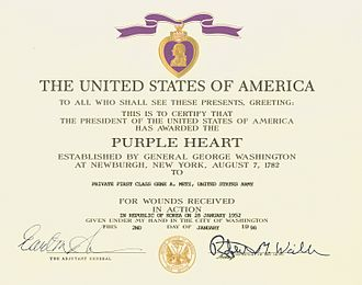 Purple Heart - U.S. Army Purple Heart Certificate for a soldier wounded during the Korean War