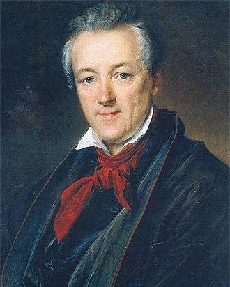 Pyotr Sokolov (portraitist) - Pyotr Sokolov; Portrait by  Vasily Tropinin (1833)