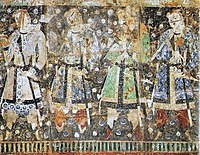 "Sassanid influence didn't remain confined to its borders. In this depiction from Qizil, Tarim Basin China, The ""Tocharian donors"", are dressed in Sassanid style."
