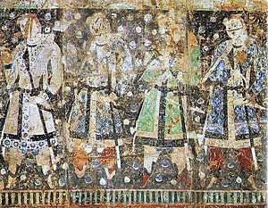"Tarim Basin - ""Tocharian donors"", with red hair, 6th-century AD fresco, Kizil Caves, Tarim Basin."