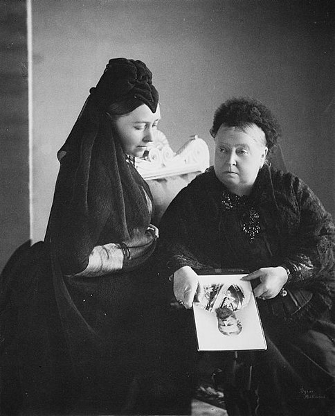 Queen Victoria with Empress Frederick BillionGraves, ancestors, family history, Victorian era, Victorian mourning clothes, funeral. mourning, cemetery, grave, GPS, cemetery documentation, gravestone photos