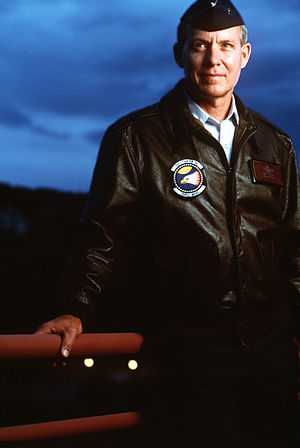 Richard Stephen Ritchie - Brig. Gen. Steve Ritchie, dressed in an A-2 leather flight jacket, poses for an informal portrait prior to September 1996