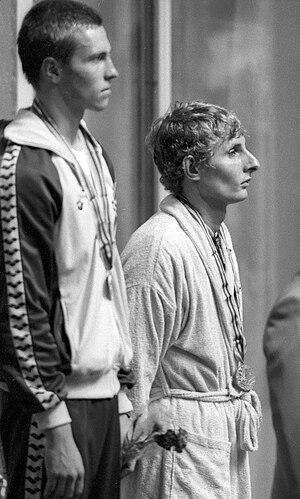 Vladimir Salnikov - Salnikov (left) on the podium after winning the 1,500 m race at the Moscow Olympics, 1980.