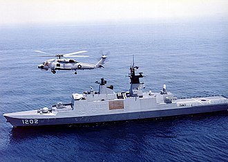Republic of China Navy - ROC Navy ''Kang Ding''-class (Lafayette-class) frigate with S-70C helicopter